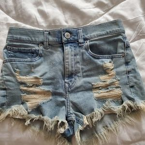Express high waisted distressed shorts